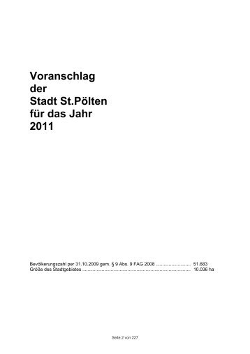 Voranschlag der Stadt St.pölten für das Jahr 2011