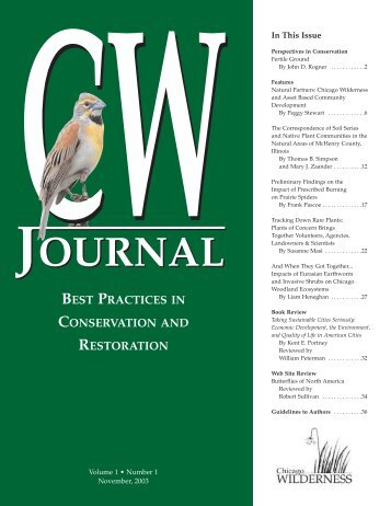 Chicago Wilderness Journal, Volume 1 - Number 1 - November, 2003