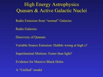 High Energy Astrophysics Quasars & Active Galactic Nuclei