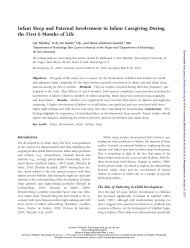 Infant Sleep and Paternal Involvement in Infant Caregiving During ...
