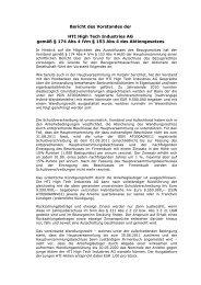 Bericht des Vorstandes der - HTI - High Tech Industries AG