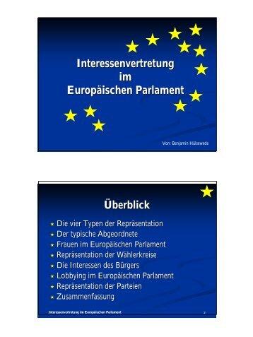 Interessenvertretung im Europäischen Parlament - Sowi