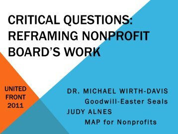 Critical Questions: Reframing Nonprofit Boards' Work - United Front