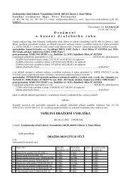 Oznámení o konání dražebního roku - Statutární město Liberec