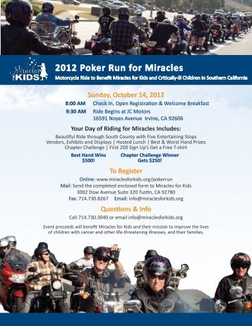 2012 Poker Run for Miracles - JC Motors