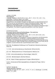Diplomstudiengang: Fachgebiet Buchhandel ANDREA FISCHER ...