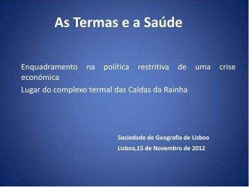 As Termas e a Saúde - Sociedade de Geografia de Lisboa