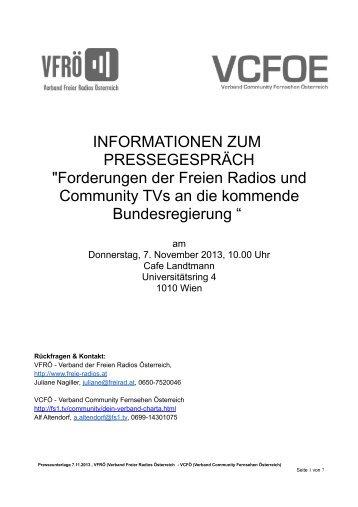 Presseunterlagen 07.11.13 - Verband Freier Radios Österreich