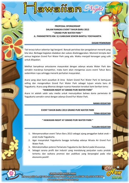 Proposal Sponsorship Old And New 2013 Sponsor