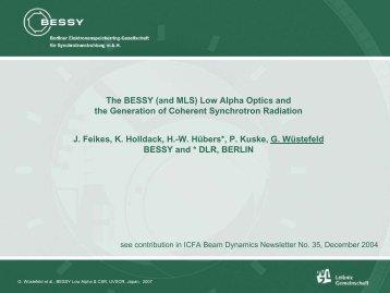 the BESSY Low Alpha Optics