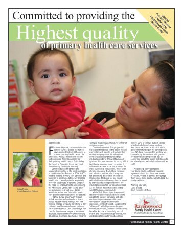 2011 Spring Newsletter - Ravenswood Family Health Center