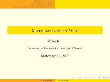 Mathematics on Web - Victor Ivrii - University of Toronto