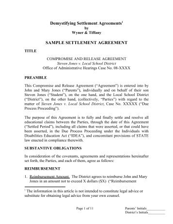 Sample Settlement Agreement   Wrightslaw