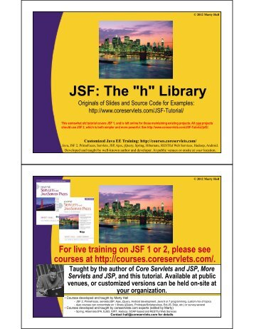 """JSF: The """"h"""" Library - Custom Training Courses - Coreservlets.com"""