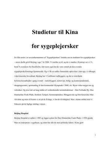 Studietur til Kina for sygeplejersker - Smedebøl.dk