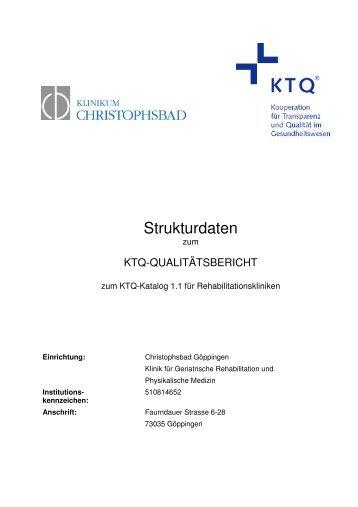 Strukturdaten Christophsbad Göppingen - KTQ