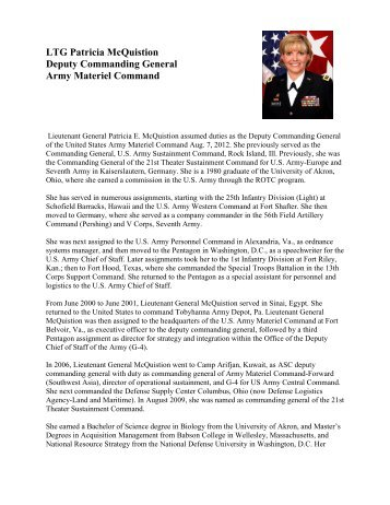 LTG Patricia McQuistion Deputy Commanding General Army ...