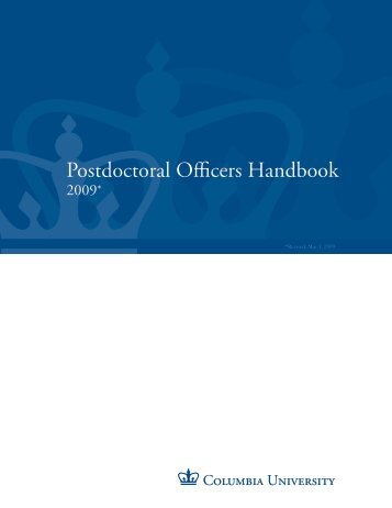 Postdoctoral Officers Handbook - Office of Postdoctoral Affairs ...