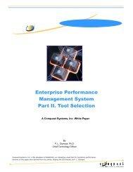 Enterprise Performance Management System Part II. Tool Selection