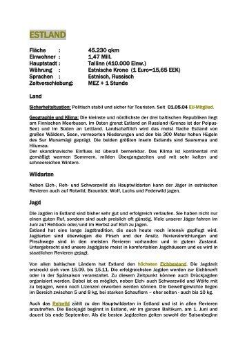 Länderinformation Estland - Jagdbüro G. Kahle