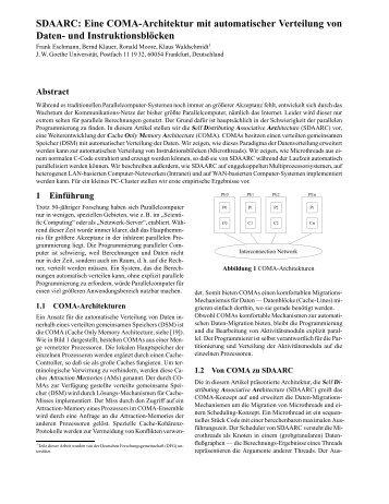 Eine COMA-Architektur mit automatischer Verteilung von Daten