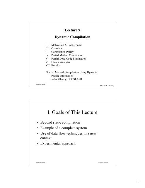 Lecture 9 Dynamic Compilation ...