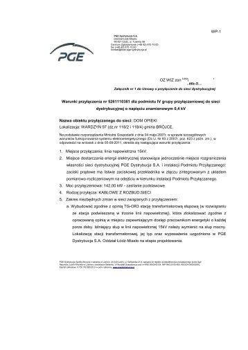 WP-1 OZ WIZ zon i Warunki przyłączenia nr ... - PGE Dystrybucja