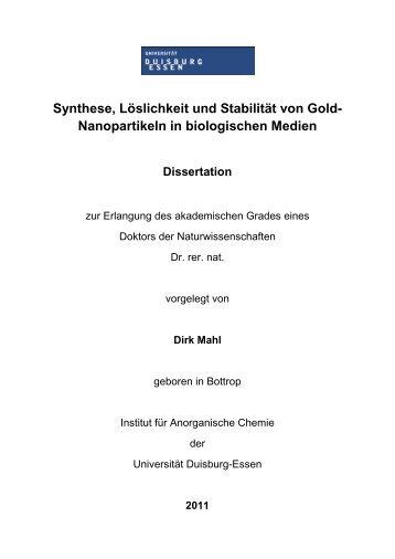 Synthese, Löslichkeit und Stabilität von Gold- Nanopartikeln in ...