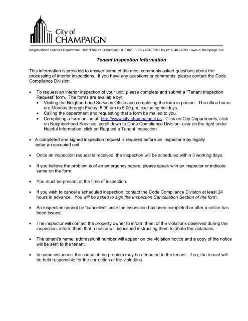 tenant inspection request form - City of Champaign