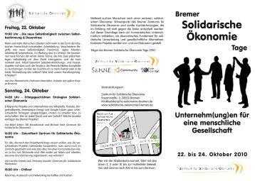 Zum Programm - Zentrum für Solidarische Ökonomie
