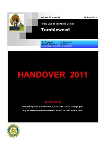 handover 2011 - Townsville Central Rotary Club Come And Join Us