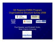 SE Regional EMBA Program Organizational Structure Survey 2006