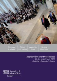 Degree Conferment Ceremonies 23, 24 and 25 July 2013 Guildford ...