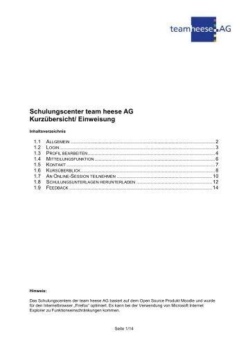 Schulungscenter team heese AG Kurzübersicht/ Einweisung
