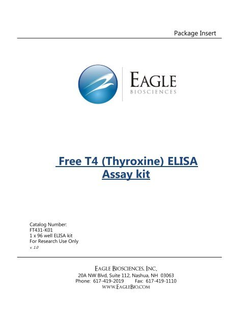 Free T4 Thyroxine Elisa Assay Kit Eaglebio