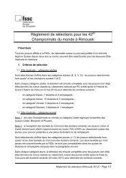 Règlement de sélections pour les 42 Championnats du monde à ...