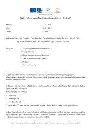 """Zápis ze schůze k projektu """"Matematika pro inženýry 21. století ..."""