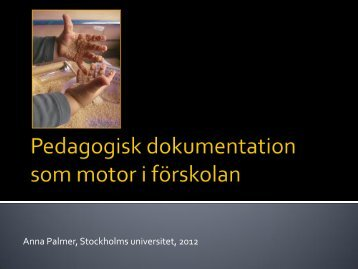 Anna Palmer, Stockholms universitet, 2012