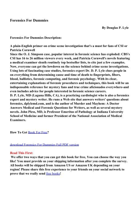 Forensics For Dummies Pdf Ebooks Free Download