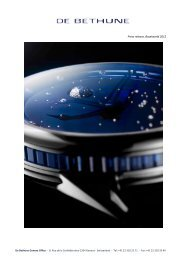 Press release, Baselworld 2012 - De Bethune