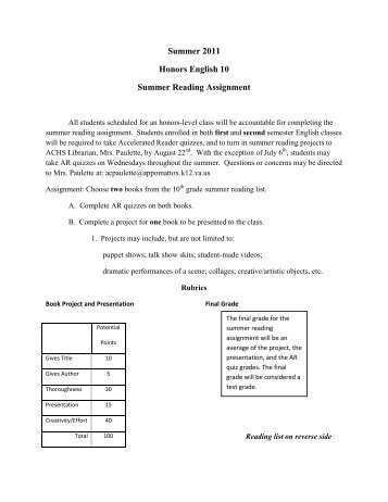 english 2 honors summer reading assig Bedford high school english department re: summer 2017 reading  see  ​honors english i letter​ for summer reading assignment english 2.