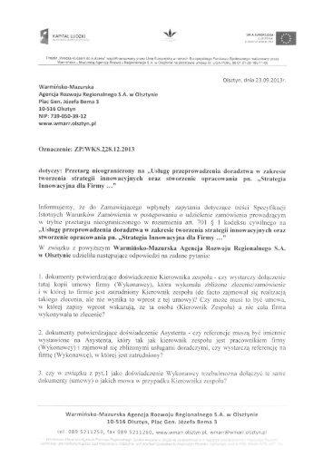 pytania - Warmińsko-Mazurska Agencja Rozwoju Regionalnego SA