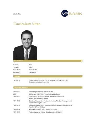 Curriculum Vitae - Max E. Katz
