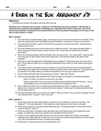raisin in the sun essay assignment A raisin in the sun essays: good collection of academic writing tips and free essay samples you can read it online here.