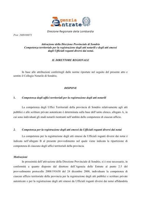 atti pubblici ufficiali Sondrio direttore DP doc provvedimenti TJcFKl1