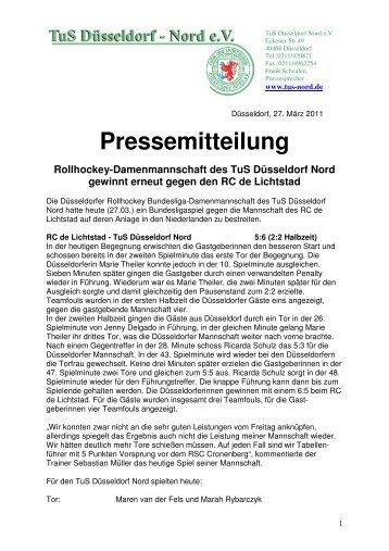 Pressemitteilung Rollhockey-Damenmannschaft des TuS ...