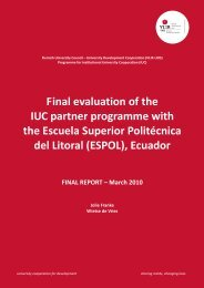 Final evaluation of the IUC partner programme with the ... - VLIR-UOS