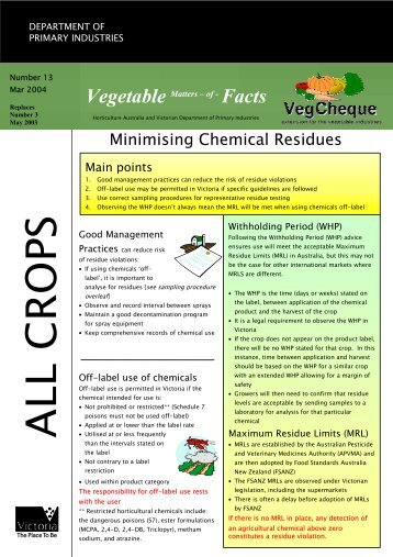 Minimising Chemical Residues - Vegetable Growers Association of ...