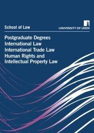 Postgraduate Degrees International Law ... - School of Law