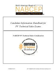 Candidate Information Handbook for PV Technical Sales ... - nabcep